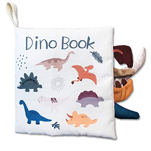 Richgv 3D Libro di Stoffa, Morbido Libri per Bambini, Neonato, Giocattoli da Viaggio, Il Mio Primo Libro, Giocattoli educativi per l'apprendimento. Libri di attività. Regali del Primo Anno(Dinosauro)