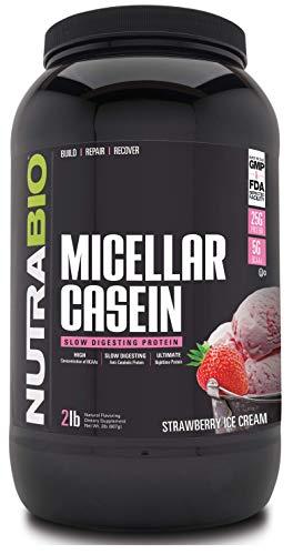 NutraBio Micellar Casein - Slow Digesting Protein Powder (2 Pounds, Strawberry Ice Cream)