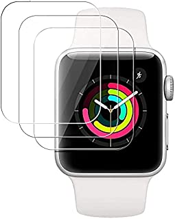 [3 Pack] Tempered Glass Screen Protector Compatible with Apple Watch Series 3/2/1 38MM Bubble-Free, 3D Full Coverage Anti-Scratch Shatter-Proof HD Clear Waterproof Screen Protector Film - Clear