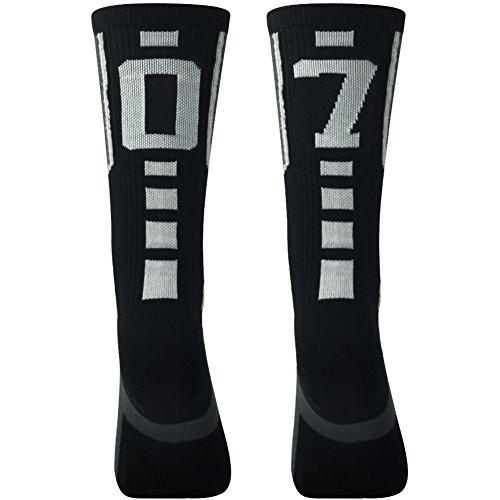 Athletic Over The Calf Socks, ComiFun Men's Women's Custom Team Number Knee High Long Tube Football Soccer Socks,1 Pack,Black/White 07