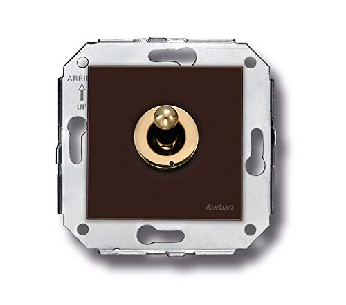 Fontini - Interruptor rocking 10a 250v dorado marron pack