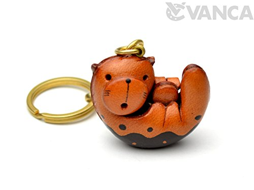 Sea-otter Leather Fish/Sea Animal KH Keychain VANCA CRAFT-Collectible keyring Made in Japan