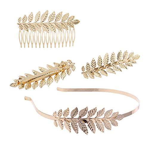 Lurrose Grieks Romeinse armband armbanden gouden laurierbladeren kroon tiara kostuum Griekse godin hoofdband haarkam haarspelden bruid huwelijk haaraccessoires 4 stuks