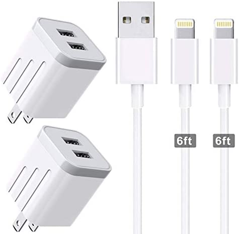 CNANKCU iPhone Charger Double USB MFi Certified Cable 6 6FT with 2 Port Wall Charger Adapters product image