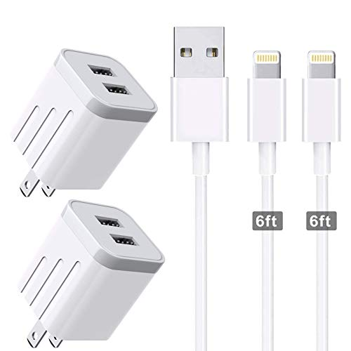 CNANKCU iPhone Charger Double USB MFi Certified Cable (6/6FT) with 2 Port Wall Charger Adapters (4-Pack) Fast Charging Block Power Plug Compatible with iPhone 11/Pro/Xs Max/X/8 and More-White
