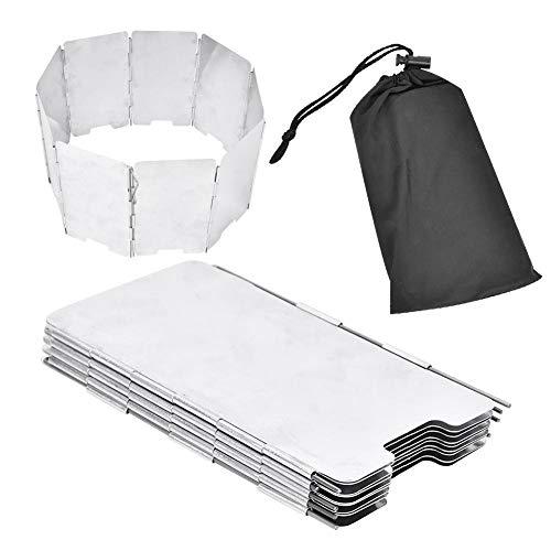 Parabrisas de la Estufa de Camping, Parabrisas Plegable de 9 Placas de aleación de Aluminio con Bolsa de Almacenamiento Oxford para Senderismo, Camping, Pesca