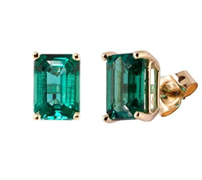 81a062ee1 10k Yellow Gold Emerald Cut Created Emerald Stud Earrings ...