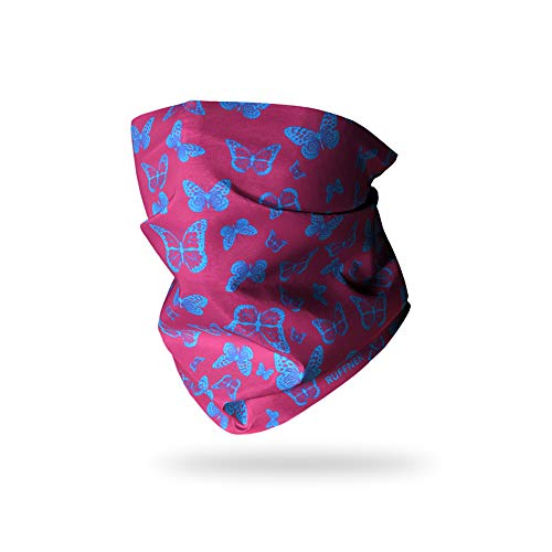 Ruffnek Motivo Farfalle, Rosa/Azzurro. Scaldacollo/Sciarpa Multiuso, per Uomo, Donna e Bambino, Utilizzabile come Fascia o Berretto, Adatto per Ciclismo, Corsa, Equitazione, Fashion - Taglia Unica