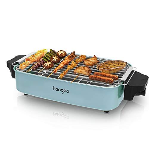 Elektrogrill Tischgrill, BBQ Elektrogrill mit Metall-Auffangschalen, Rauchfreier Elektrisch Grill für Balkon Drinne Party, 1800W - Blau