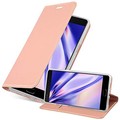 Cadorabo Hülle für OnePlus 3 / 3T in Classy ROSÉ Gold - Handyhülle mit Magnetverschluss, Standfunktion & Kartenfach - Hülle Cover Schutzhülle Etui Tasche Book Klapp Style