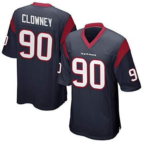 WSZS Heren Rugby Jersey NFL T-Shirt Houston Texans 90# Clowney Kind Korte mouw Comfortabele Ademende Sweater, Sport Korte mouw V-hals T-Shirt
