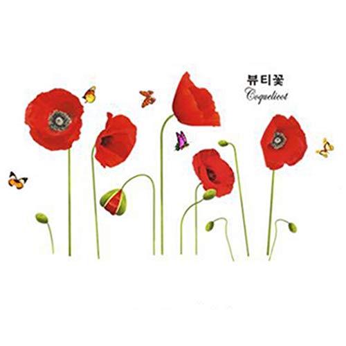 Stickers muraux amovibles en PVC pour chambre à coucher, décoration de cuisine, rouge