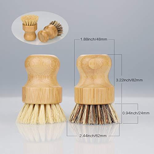 JIZZU 2 Pcs Cepillo Fregar Platos de Bambú, Cepillo Bambú, Ecológico&Saludable para Limpiar Fregadero de Cocina de Hierro Fundido, Baño, Cepillo para Lavar Platos con Cerdas Blandas y Duras