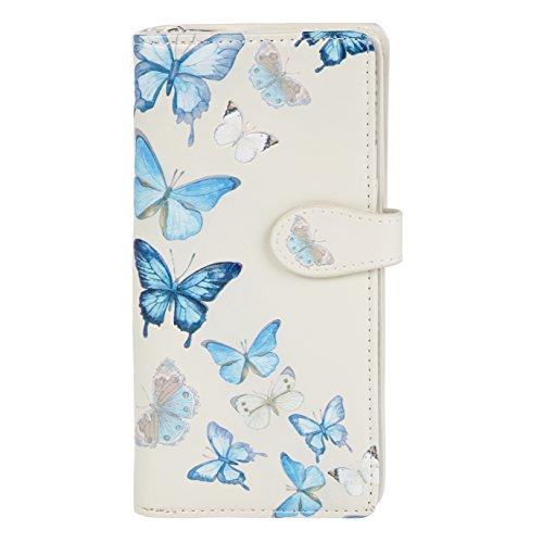 SHAGWEAR ® Portemonnaie Geldbeutel Damen Geldbörse Mädchen | Bifold Mehrfarbig Portmonee Designs: (Schmetterling Creme/Butterflies Beige)