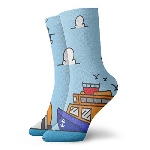 BJAMAJ Unisex Sokken Light Tower Kleur Tekenen Zee Lamp Interessant Polyester Crew Sokken Volwassene Sokken Katoen