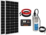 ECO-WORTHY Solar Well Pump Kit for Watering 24 Volt - 1pc Submersible Solar Water Pump + 2pcs 100W Mono Solar Panel + 20A LCD Display Charge Controller + 16.4ft Solar Cable + Solar Panel Bracks