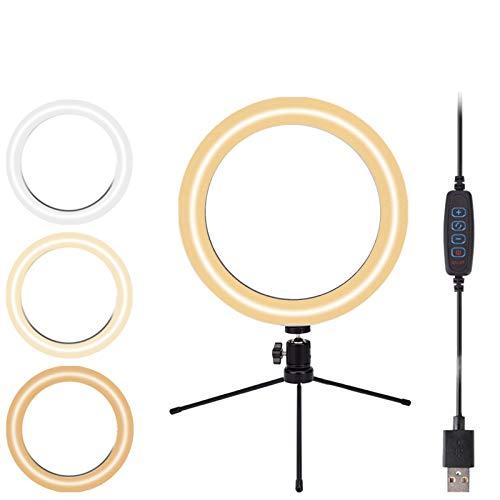 10'' Ring Light Tripod Selfie Desktop Clip Lamp with Phone Holder, Mini LED Camera Natural Circle White Light for Online Meeting/Live Stream/Makeup/YouTube Video/TikTok/Photo, USB Connect