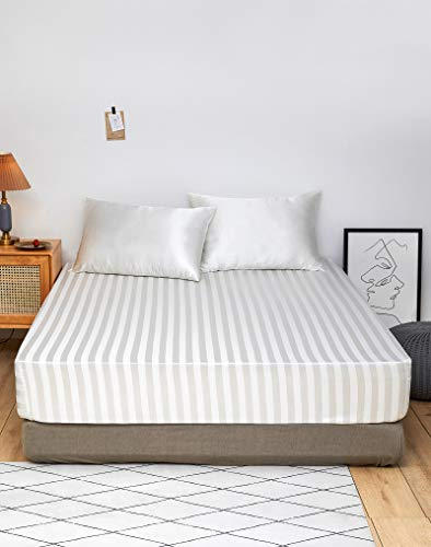 DuShow Satin Fitted Sheet Double White,Stripe Silky Deep Pocket(35cm) Satin Bed Sheets,Breathable Soft Comfortable Satin sheets Single,Fitted Sheet Only(Off White,Double)