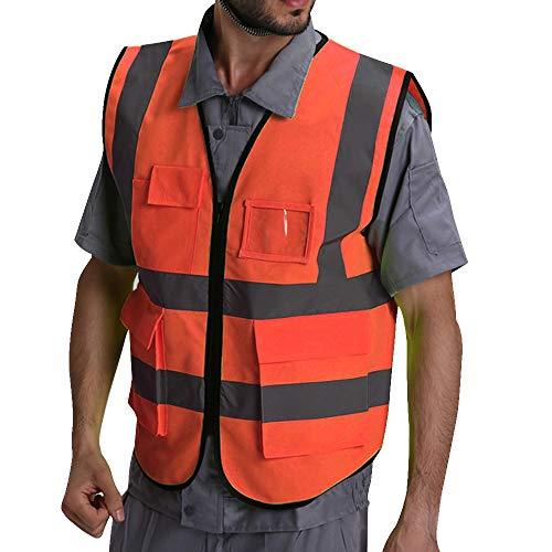 Puimentiua Giubbotto di Sicurezza Traspirante Gilet Antinfortunistici Gilet Lavoro Riflettente ad Alta visibilità con Tasche e Cerniera
