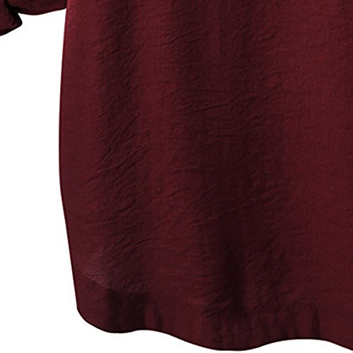 iTLOTL Women O Collar Loose Girl 3/4 Long Sleeve Autunm Plus Size Shirt (Wine Red ,US-16/CN-2XL) 6