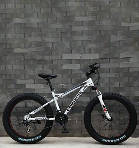 ZGYQGOO Fat Tire Adulti Mountain Bike, Doppio Freno a Disco in Acciaio /-Alto tenore di Carbonio Telaio Cruiser Bikes, Spiaggia motoslitta Bicicletta, 26 Pollici Ruote