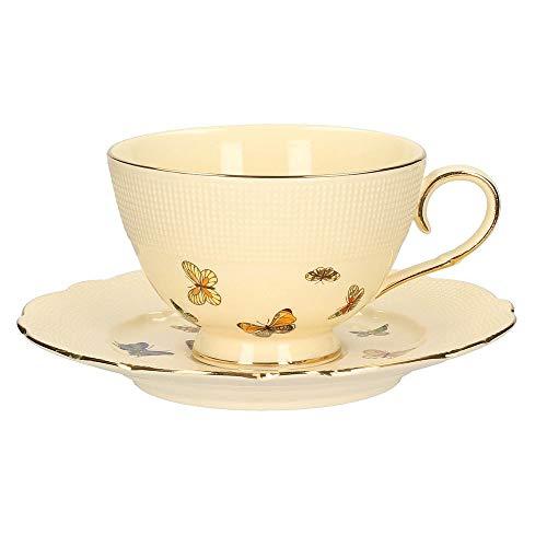 Juego de tazas de porcelana (2 piezas, 200 ml), color crema