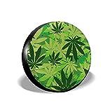 GXLLLW Cubiertas para Llantas de Cannabis Verde, Cubiertas Impermeables para Ruedas de Repuesto, Ajuste Universal para la mayoría de los Camiones, camionetas y camionetas de 15 Pulgadas