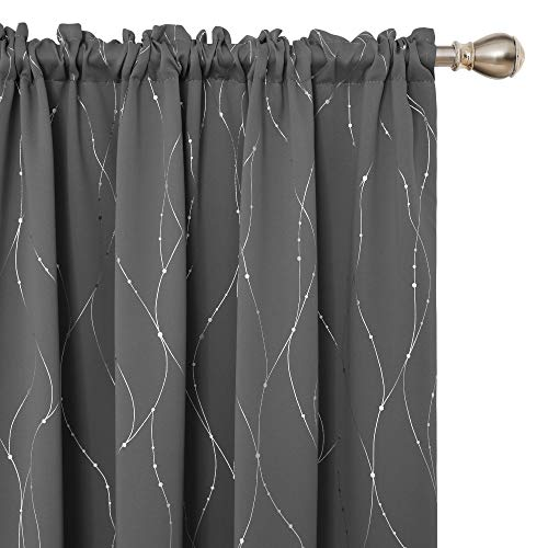 Deconovo Blackout Rod Pocket Curtains Pair with Dots Pattern Energy Saving Room Darkening Curtains for Living Room and Sliding Glass Door 52W x 63L Inch Grey 2 Panels