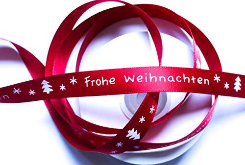 CaPiSo 20m Weihnachtsband 15mm Satinband Geschenkband Schleifenband Weihnachten mit Schrift Frohe Weihnachten (Kardinalrot)