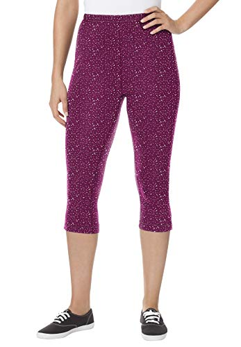Woman Within Women's Plus Size Stretch Cotton Printed Capri Legging - 2X, Deep Claret Scattered Dot