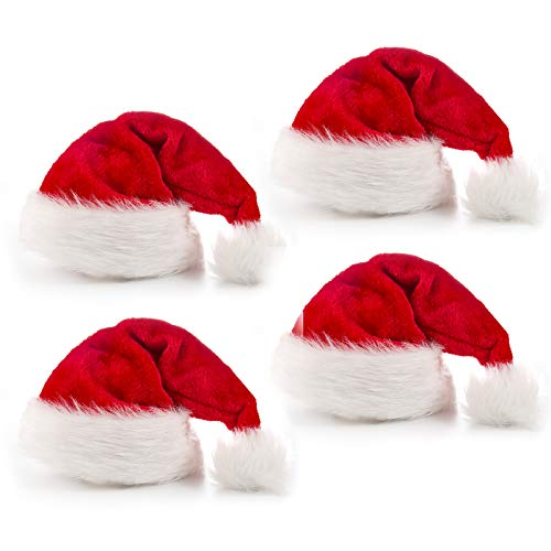 Rorchio 4 Pack Christmas Hat, Santa Hat, Xmas Hat for Unisex Adults with Velvet Classic Fur for Christmas New Year Festive Holiday Party Supplies