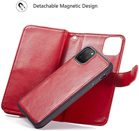 iPhone 11 Wallet Case,HYSJY PU Leather Detachable Magnetic Women with 9 Card Slots Wrist Strap Removable Shockproof Slim Cover for iPhone 11 6.1 inch (9-Red, iPhone 11)