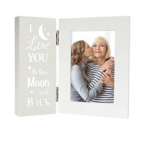 OUCHAN Cornice portafoto illuminata, 4x6 Cornice per Foto con Parole incise, Cream White(Love)