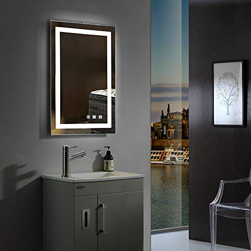 32×24in. Dimmable Led Illuminated Bathroom Mirror with Bluetooth Speaker Wall Mounted Bathroom Vanity Mirror with Touch Button&Anti-Fog| Hangs Vertically or Horizontally