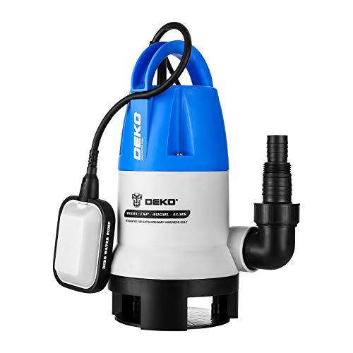 DEKO Bomba de agua sumergible eléctrica de 400 W con interruptor de flotador y flujo máximo de 8000L / H para riego de piscinas, bañeras y jardines