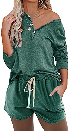 Women Sweatsuit Sets 2 Piece Short Sleeve Button up Pullover and Drawstring Short Pants Loungewear Pajama Set