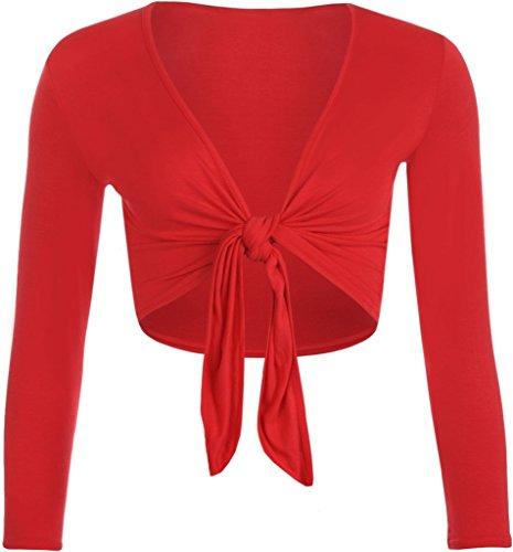 F&F nieuwe Womens dames lange mouwen Tie voorzijde Bolero bijgesneden Shrug Top vest (klein, rood)