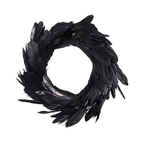JYuanzshi Feather Wreaths- 40cm Black Feather Plastic Garland, Suitable for Halloween Decoration   Decorative Door Hanger   Wall Hanging