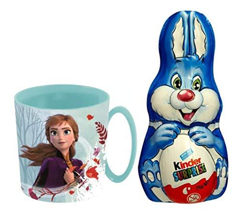 Oeuf de Pâques Lapin Kinder Surprise au Chocolat au Lait 75g & Tasse Mug 350ml Officielle Disney La Reine des Neiges Frozen 2