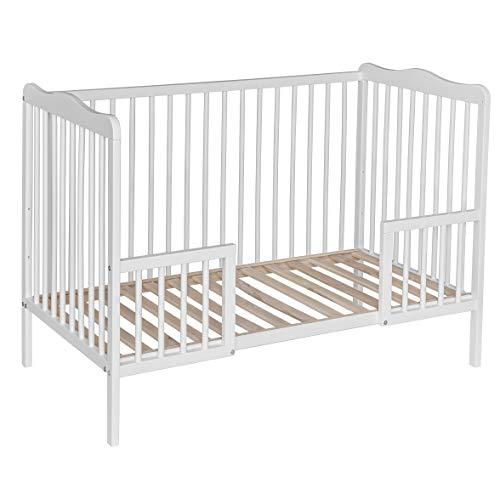 Best For Kids Gitterbett weiß oder natur mit Rausfallschutz Kinderbett Babybett 120x60 cm mit oder ohne Matratze (Weiß ohne Matratze)