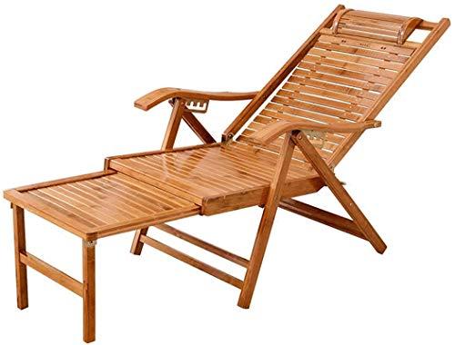 Sedia sdraio da giardino reclinabile in bambù con braccioli in polyrattan e legno di acacia massiccio