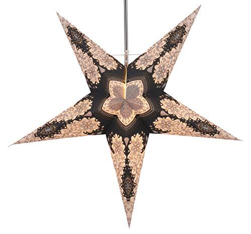 Guru-Shop Faltbarer Advents Leucht Papierstern, Weihnachtsstern Tamoor, 60x60x20 cm, Star Fensterdeko, 5 Spitzen