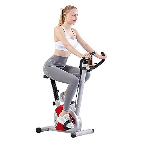SAFGH Bicicleta Plegable Delgada para Ejercicio, Bicicleta estacionaria reclinada para Interiores, Vertical magnética compacta para el hogar con Programa de Aplicaciones y Placa Twister