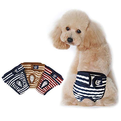 Namsan 3er Pack Hundewindeln Hygieneunterhose Waschbar Aus Schutzhose Aus Atmungs Hygieneunterhose aus Baumwolle für Hündin - L