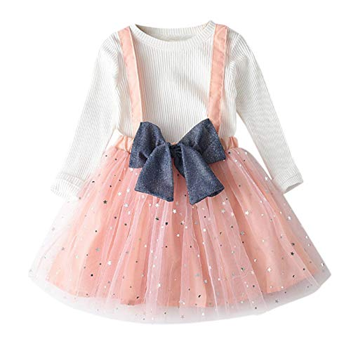 Julhold Conjunto de faldas de tirantes para niñas pequeñas + falda de manga larga con estampado de estrellas, falda con lazo, falda de manga larga, juego de 2 piezas para niños y niñas