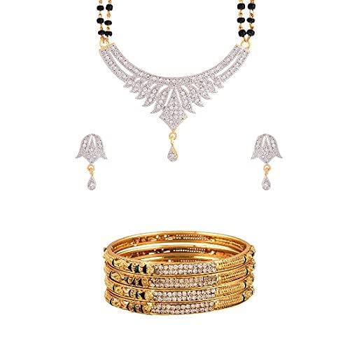 SataanReaper Presents American Diamond Mangalsutra & Wedding Kada Bangles Jewellery For Women & Girls #SR-5111