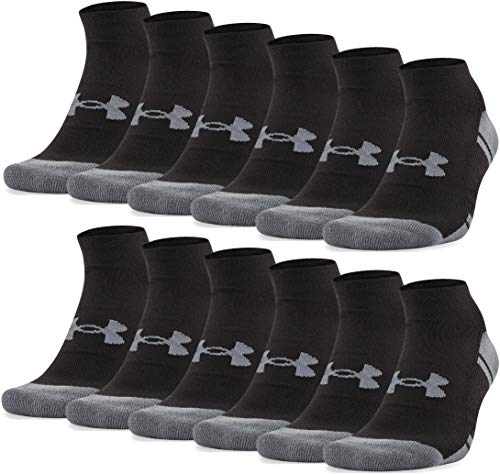 Under Armour Adult Resistor 3.0 No Show Socks , Black/Graphite (12-Pairs) , Large