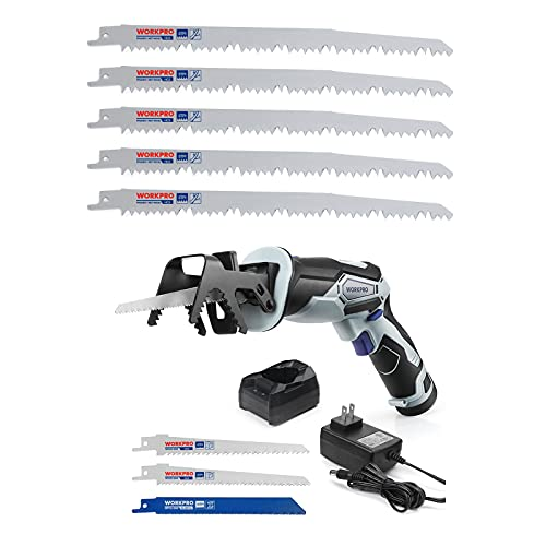 WORKPRO 12V Cordless Reciprocating Saw with Clamping Jaw&5-Piece 9-Inch Wood Pruning Reciprocating Saw Blade Set