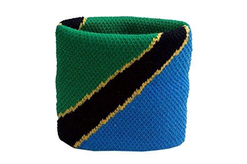 Flaggenfritze Schweißband Motiv Fahne/Flagge Tansania, 2er Set + gratis Aufkleber