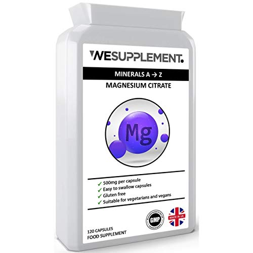 Magnesium Citrate 500mg - 120 Vegan Capsules - Providing 150mg of Active Elemental Magnesium - Easily Absorbable & Easy to Swallow Capsules - Highly Bioavailable - Made in The UK